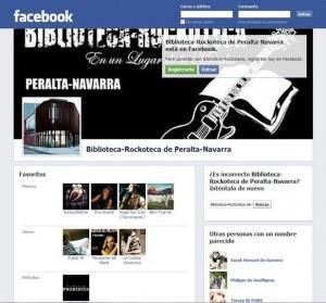 Página de Facebook de la Biblioteca-Rockoteca de Peralta
