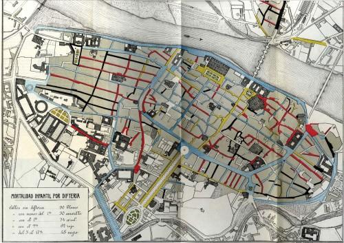 mapa de la difteria en Zaragoza en 1900