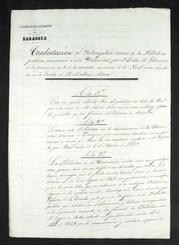 Contestación al interrogatorio acerca de las Biblioteca Públicas, realizado por Real Orden de 20 de marzo de 1851