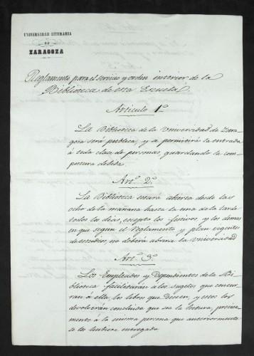 Reglamento para el servicio y orden interior de la Biblioteca de esta Escuela