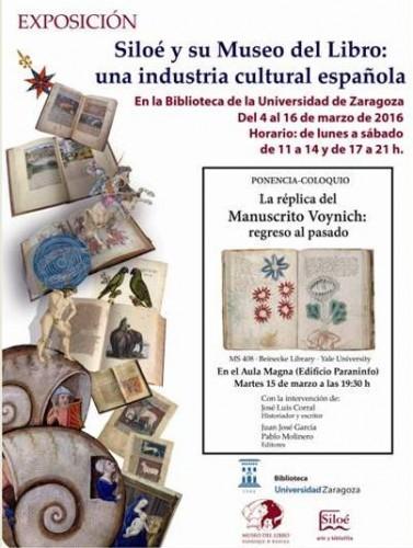 Siloé y su Museo del Libro (exposición en la Biblioteca de la Universidad de Zaragoza, Paraninfo)