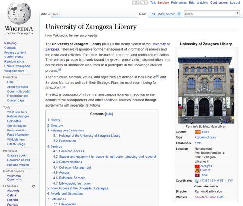 Wikipedia: Entrada de la Biblioteca de la Universidad de Zaragoza en inglés