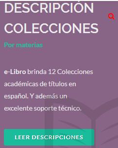 La plataforma E LIBRO en la BUZ: Descripción de las colecciones por materias