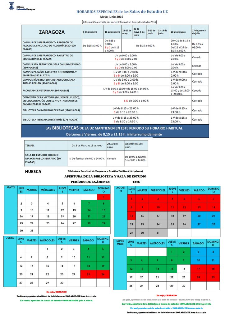 Horarios Salas de Estudio y Bibliotecas UZ 2016