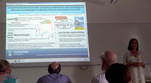 La BUZ en las X Jornadas de Innovación Docente e Investigación de la Universidad de Zaragoza. Elena Escar presenta el póster sobre el Plan de Comunicación de las CI2
