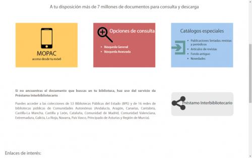 Renovación de la página del Catálogo colectivo de las Bibliotecas Públicas de España