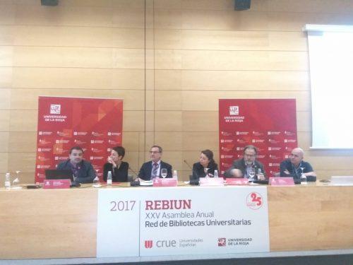 Segundo día de la XXV Asamblea de REBIUN. Informe de coordinadores de líneas estratégicas (1-4) y coordinadores de grupos de trabajo estables (catálogo colectivo, estadísticas, servicios compartidos, repositorios y patrimonio bibliográfico).