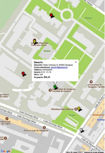 Mapa de Ocupación de las bibliotecas Unizar : Te ayudamos a encontrar sitio durante los exámenes