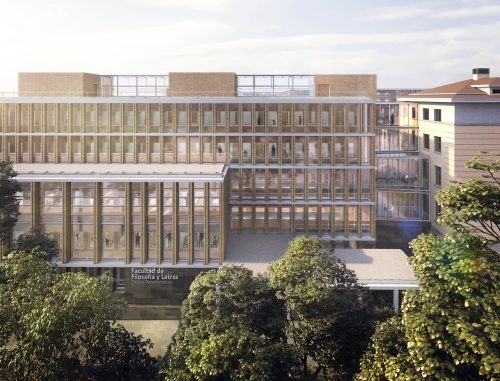 Proyección del nuevo edificio departamental desde el frente