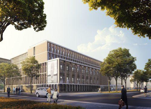 Proyección del nuevo edificio departamental desde la esquina