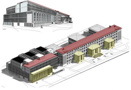 El proyecto mantiene la línea volumétrica del núcleo central de la Facultad de Filosofía y Letras, del que se reformará todo el interior, con la construcción de un edifiicio departamental anexo sobre el actual pabellón de Filología que mantiene las líneas y los colores.