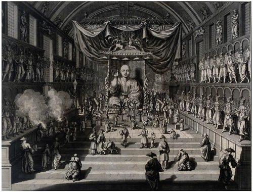 """""""Temple du Japon ou il y a mille idoles"""" Ceremonies et coutumes religieuses... A Amsterdam: chez Jean Frederic Bernard, 1728"""