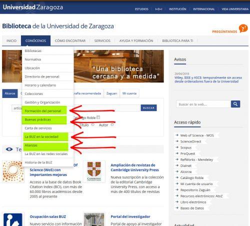 La página web de la Biblioteca de la Universidad de Zaragoza estrena nuevas secciones