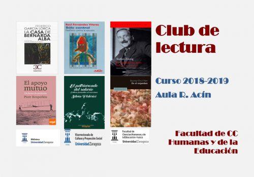 Nueva temporada del Club de Lectura de la Facultad de Ciencias Humanas y de la Educación (Universidad de Zaragoza, Campus de Huesca)