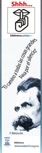 Marcapáginas de la Biblioteca de la Universidad de Zaragoza. Campaña del silencio.