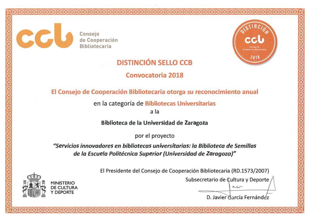 Distinción Sello CCB 2018 a la Biblioteca de semillas de la BUZ (Bca. EPS)