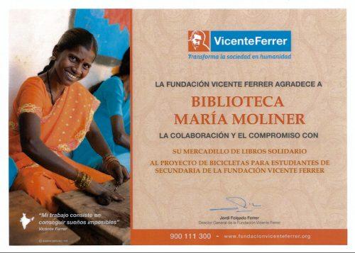 Diploma de Agradecimiento de la Fundación Vicente Ferrer a la Biblioteca de Humanidades María Moliner
