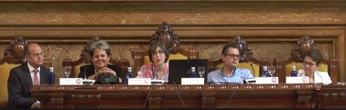La última mesa redonda fue moderada por Mª Dolores Ballesteros, Directora de la Biblioteca de la Universidad de Alcalá de Henares), y participaron Salvador Ros (UNED), Teresa Malo de Molina (UC3M), Esteban Romero Frías (Universidad de Granada) y Agnès Ponsati (CSIC)