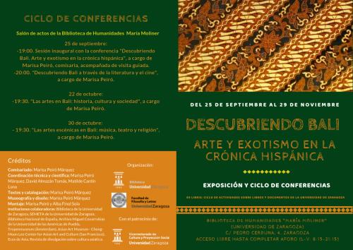 """Exposición y conferencias """"Descubriendo Bali"""" en la Biblioteca María Moliner"""